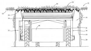 Pergola mechanical harvester