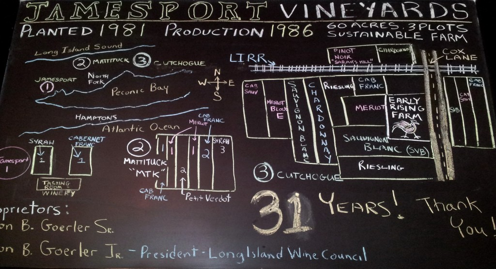 Jamesport Vineyards board